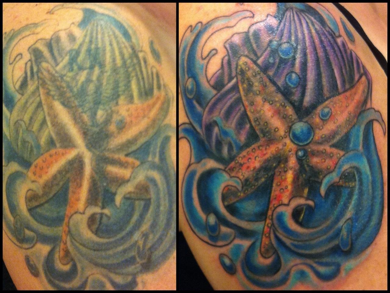 Colorful Starfish In Ocean Tattoo Design