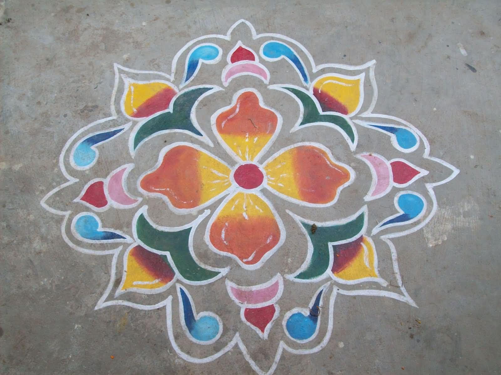 Poster design rangoli - Flower Rangoli Design For Diwali