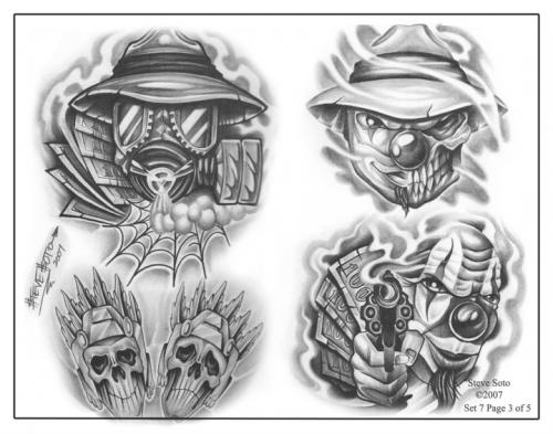 Gangster Clown Tattoo Designs Flash