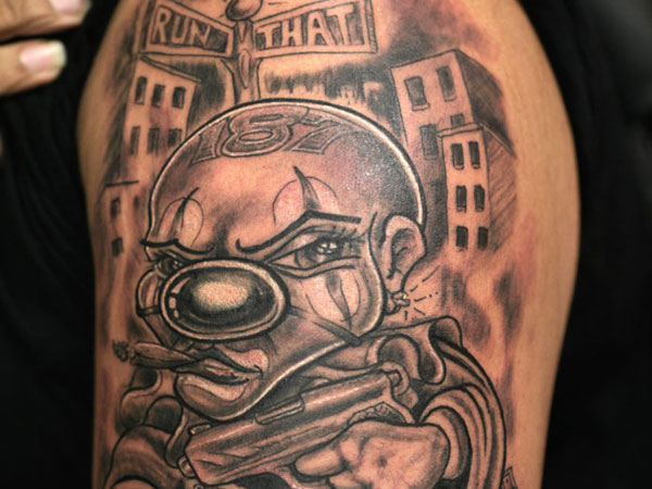 12 incredible gangster clown tattoo designs and ideas. Black Bedroom Furniture Sets. Home Design Ideas