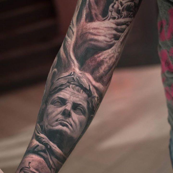 Greek Statues Tattoo on Full Sleeve