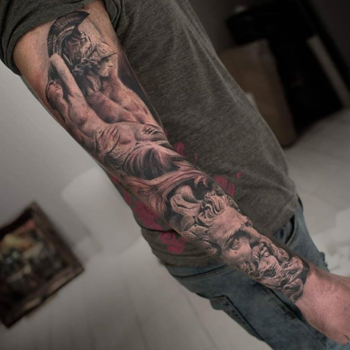 Amazing Grey Ink 3d Statue Tattoo Design For Full Sleeve