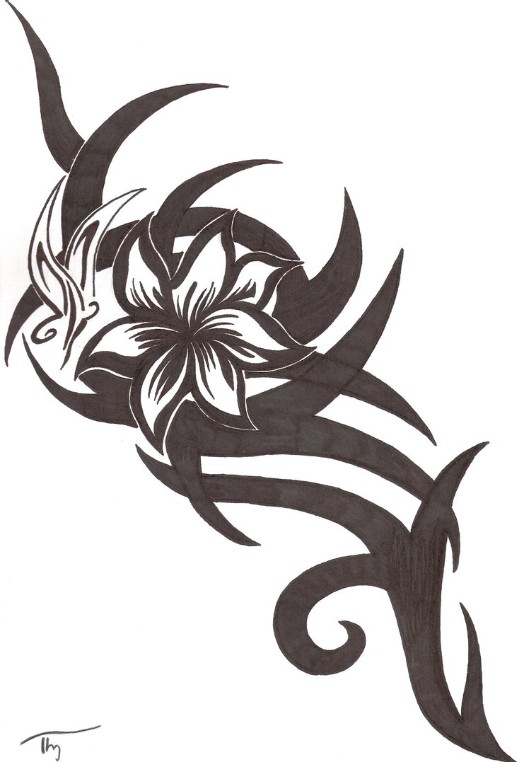 Tribal Flower And Butterfly Tattoo Design