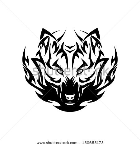Tribal Wolf Head Tattoo Vector