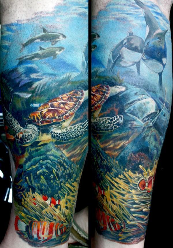 Watercolor Shark In Ocean Tattoo On Leg