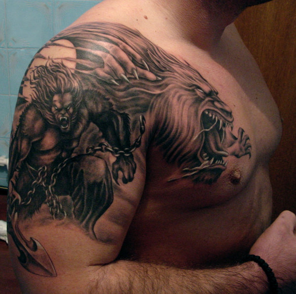 Werewolf Back Tattoo Incredible Scary On Full