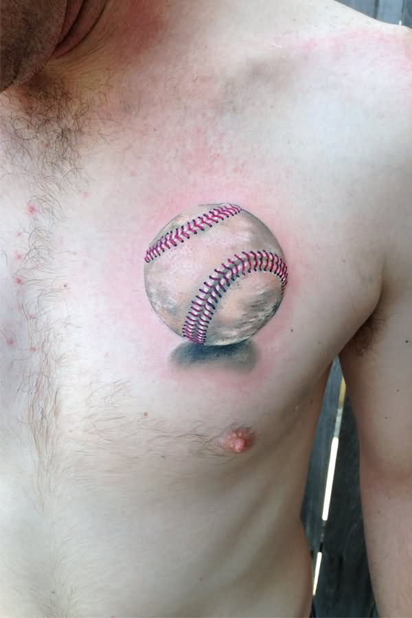 3D Baseball Tattoo On Man Chest By Monte Livingston