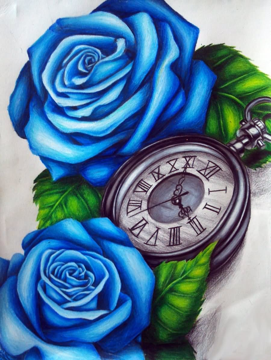 3D Blue Rose With Pocket Watch Tattoo Design By Lindsay