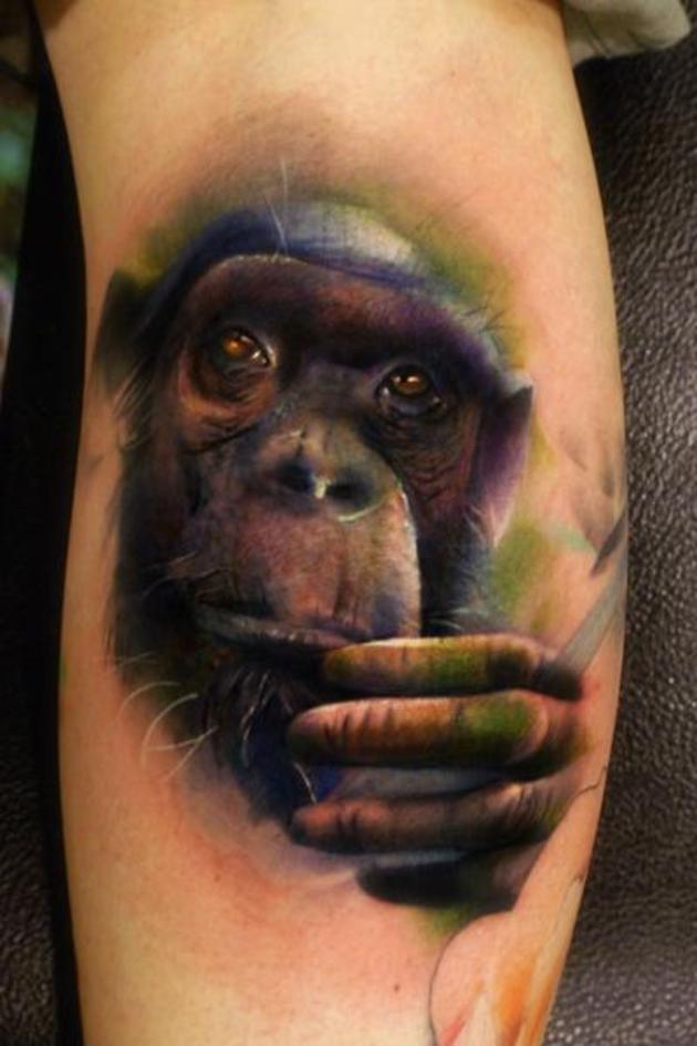 12 best monkey tattoo images and designs for Monkey face tattoo