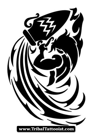 1e13e5e0fd6d2 Aquarius Symbol Tattoo Stencil · Tribal Zodiac Aquarius Sign Tattoo Design