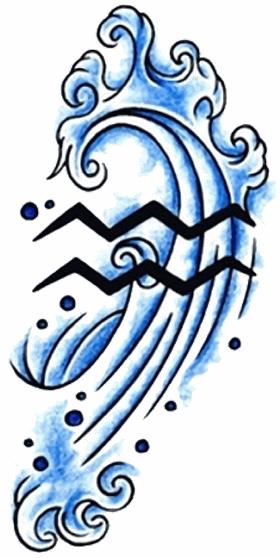15 aquarius zodiac tattoo designs and images. Black Bedroom Furniture Sets. Home Design Ideas