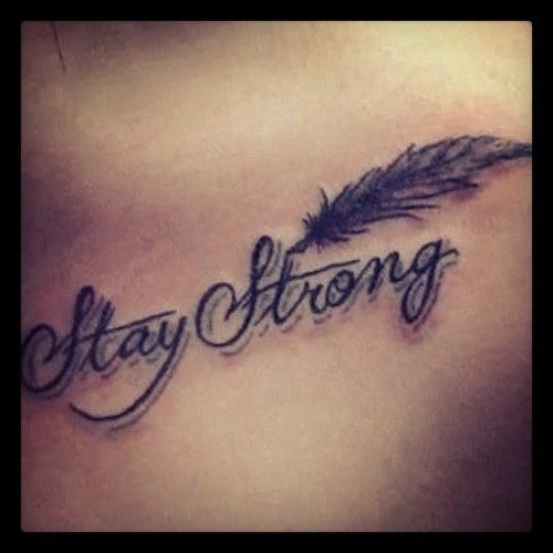 awesome 3d stay strong with feather tattoo. Black Bedroom Furniture Sets. Home Design Ideas