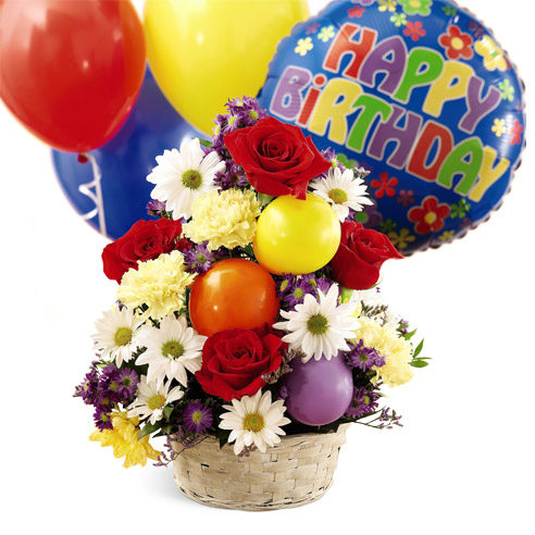 Birthday Balloons And Flower Basket