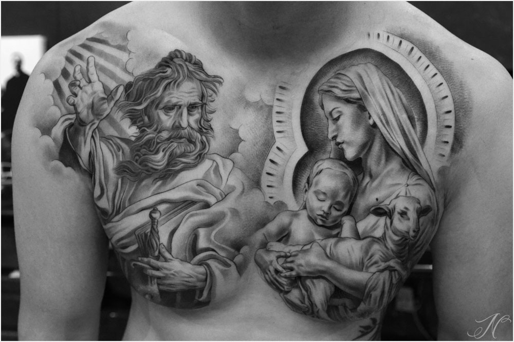 58a256522 Black And Grey 3D jesus With Saint Mary Tattoo On Man Chest