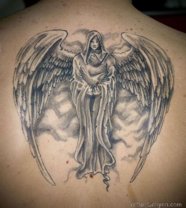 9+ Grey Ink Angel Tattoo Designs Ideas And Pictures