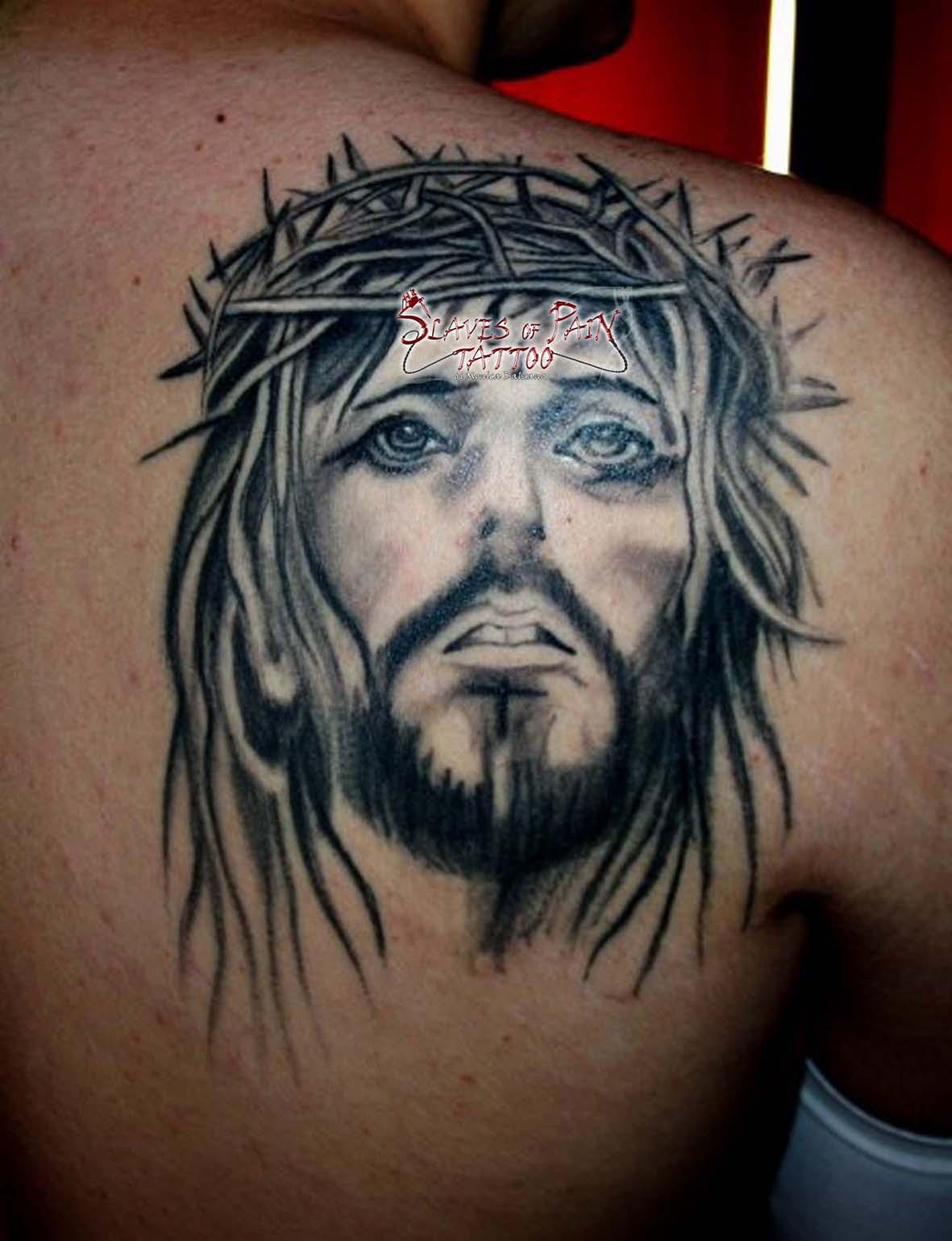 a2c9c1f73 Black And Grey Jesus Face Tattoo On Right Back Shoulder