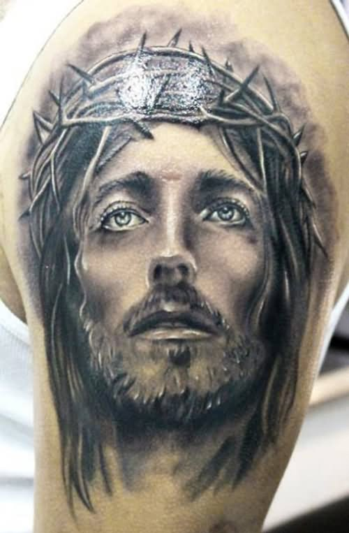 black and grey jesus face with thorn crown tattoo on shoulder by joeharley. Black Bedroom Furniture Sets. Home Design Ideas