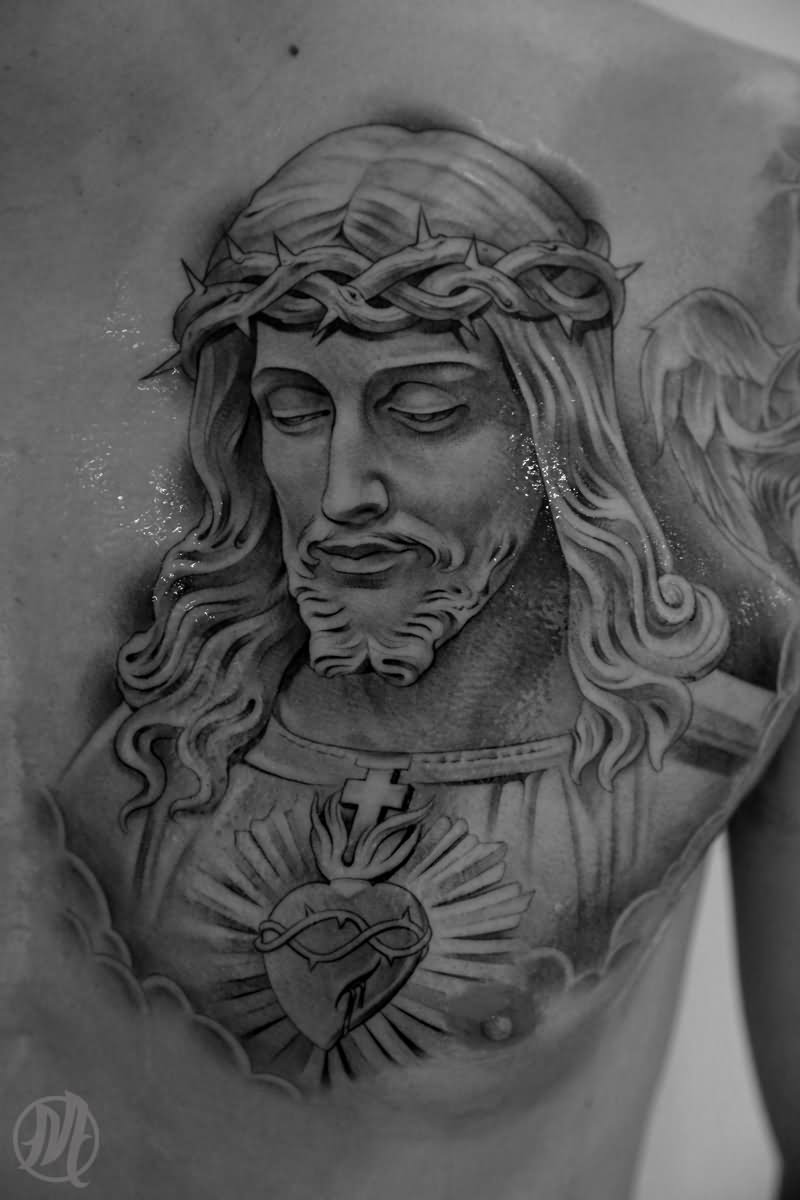Black and grey jesus tattoo on man chest by miguel ochoa for Black and grey chest tattoos