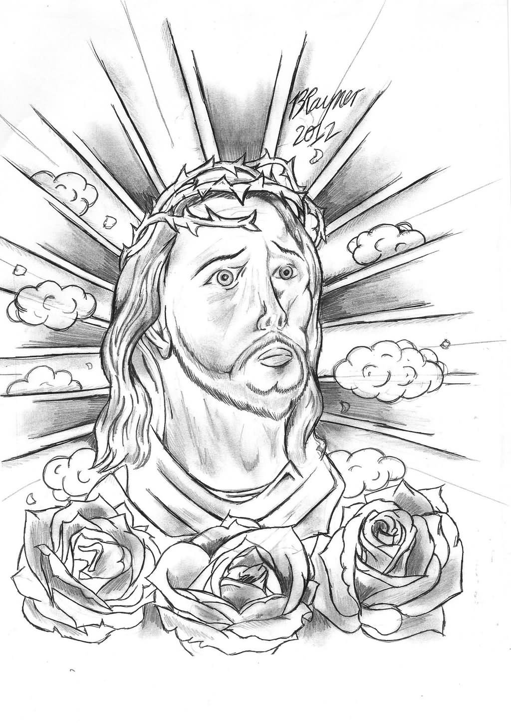 black and grey jesus tattoo design. Black Bedroom Furniture Sets. Home Design Ideas
