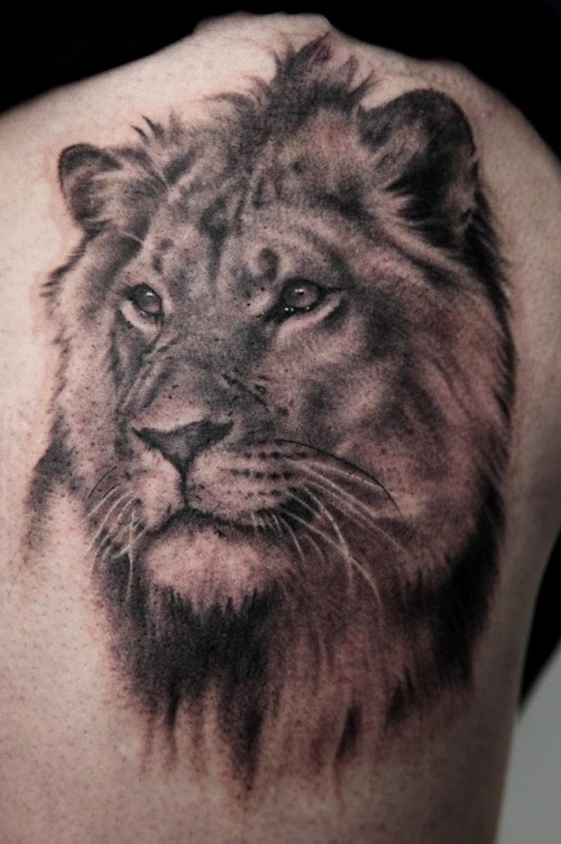 f523946b1 Black And Grey Lion Face Tattoo Design