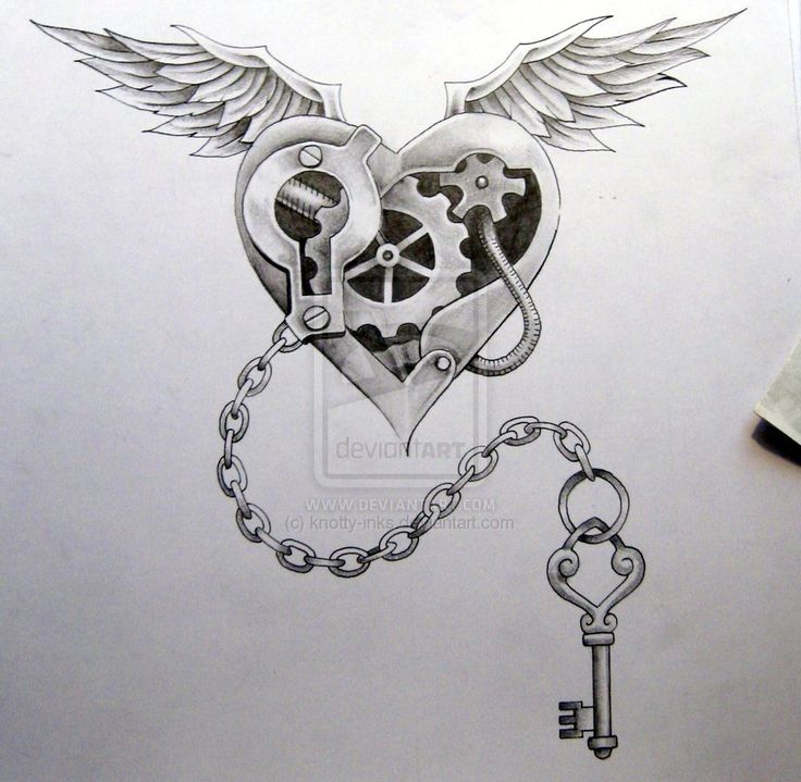 black and grey mechanical heart with wings tattoo design by neil. Black Bedroom Furniture Sets. Home Design Ideas