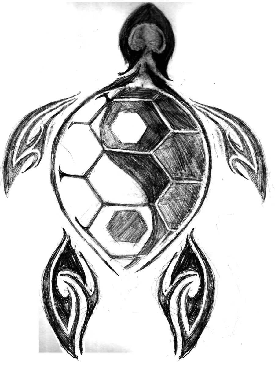 Black And Grey Yin Yang Symbol In Turtle Tattoo Design By Kristi