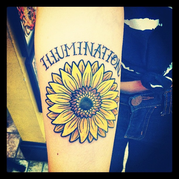 Black And Yellow Sunflower Tattoo On Forearm By Edwin Marquez