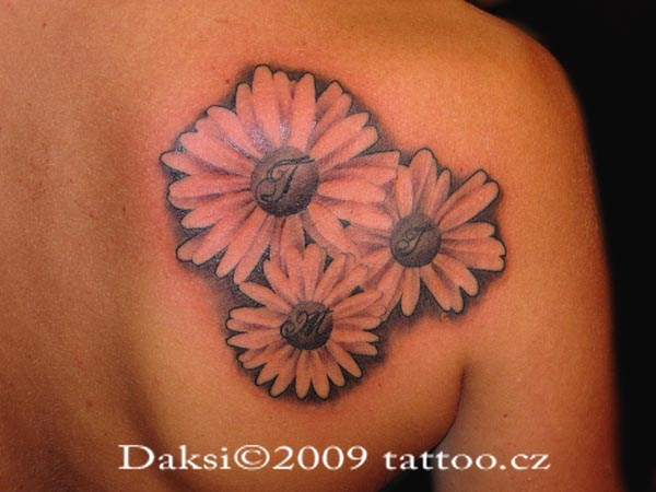 Black And pink Three Sunflower Tattoo On Back Shoulder By Dusan