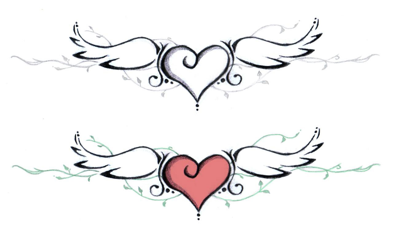 black heart with wings tattoo design by katie rh askideas com heart and angel wings tattoo cross heart and wings tattoo