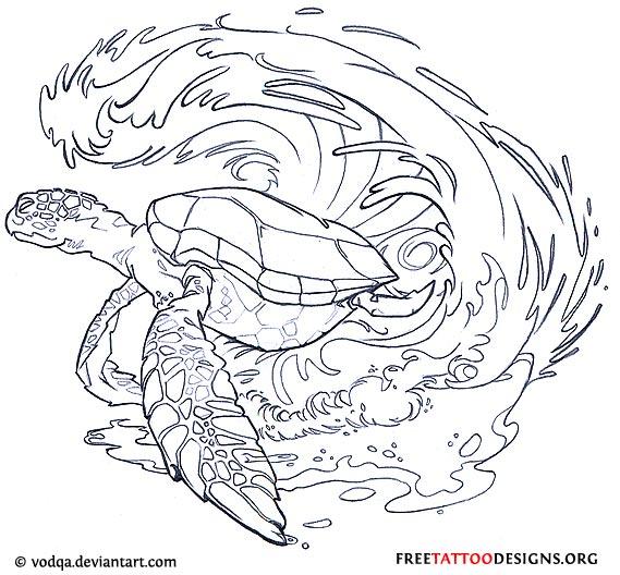 Turtle Line Drawing Tattoo : Black turtle tattoo stencil by lindsey