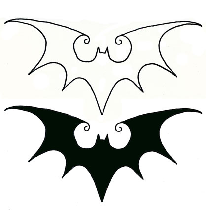 Black Two Flying Bats Tattoo Stencil By De Blah Blah