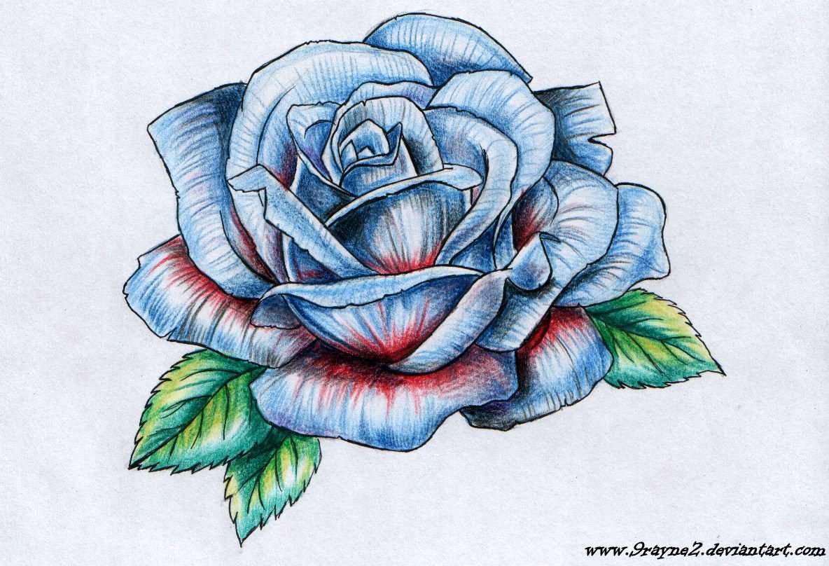 Blue Rose Tattoo Design By 9Rayne2