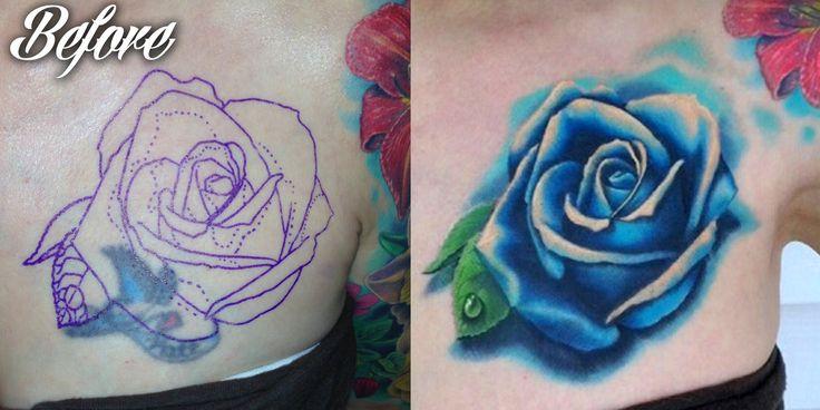 blue rose tattoo on girl front shoulder by mark duhan. Black Bedroom Furniture Sets. Home Design Ideas