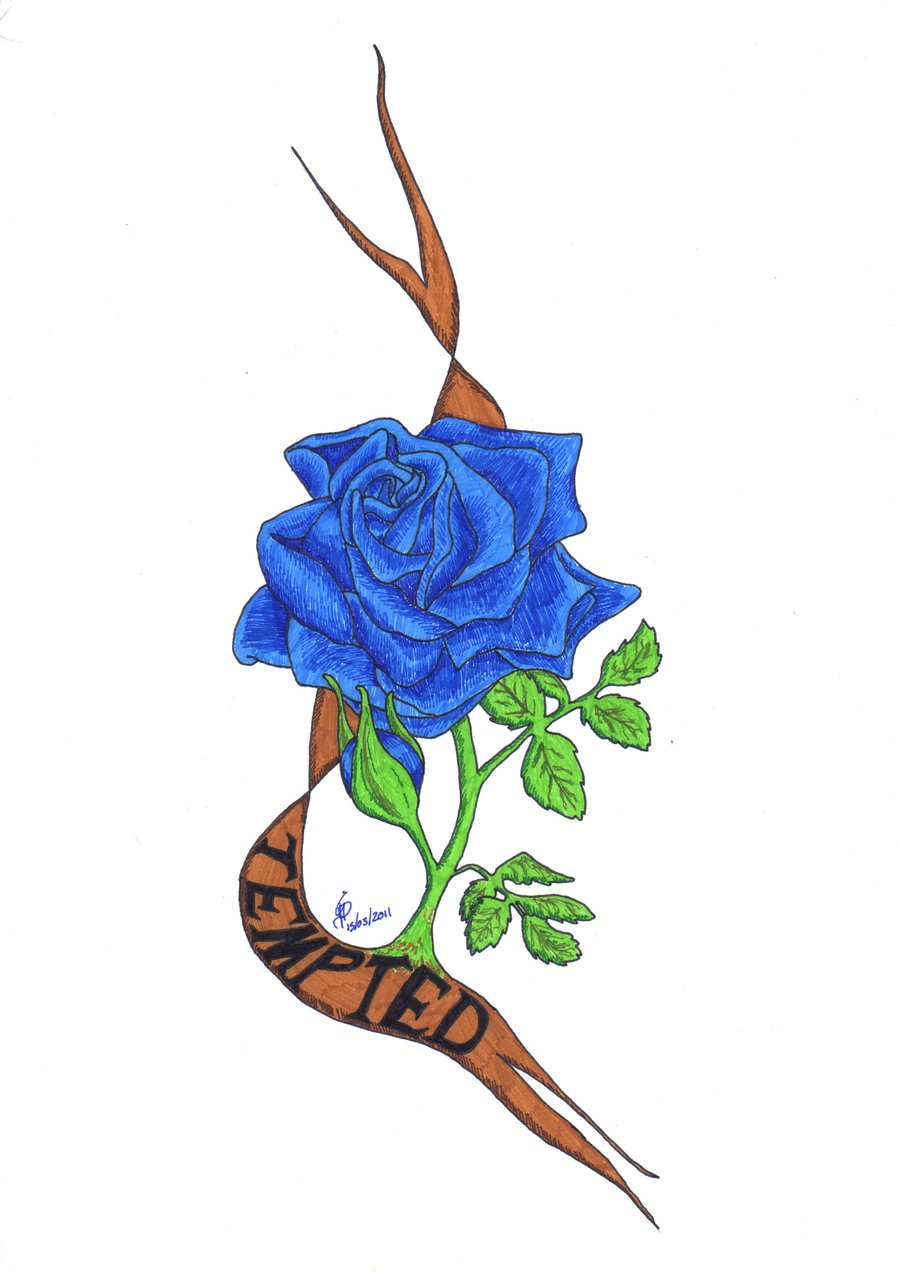 3d blue rose with pocket watch tattoo design by lindsay. Black Bedroom Furniture Sets. Home Design Ideas