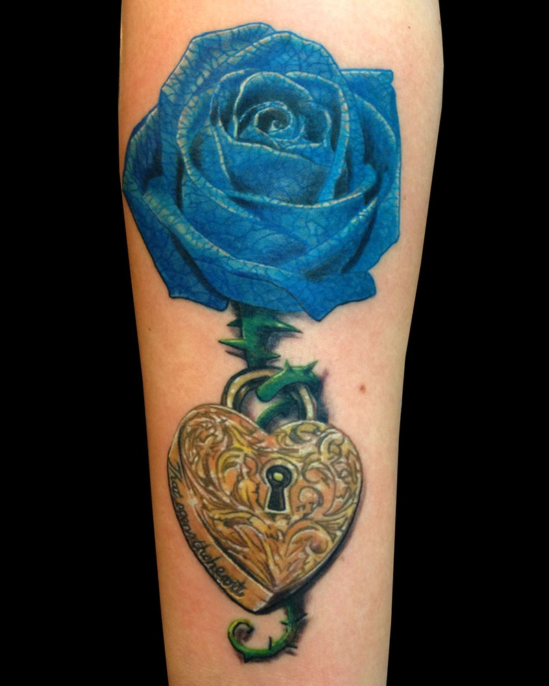 18 beautiful blue rose flowers tattoo pictures. Black Bedroom Furniture Sets. Home Design Ideas