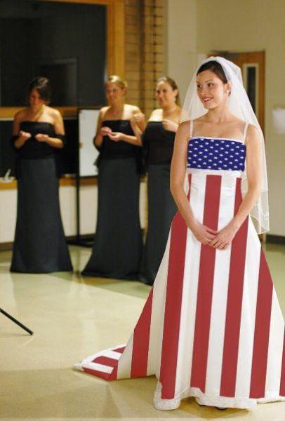 Bride In Funny American Flag Wedding Dress