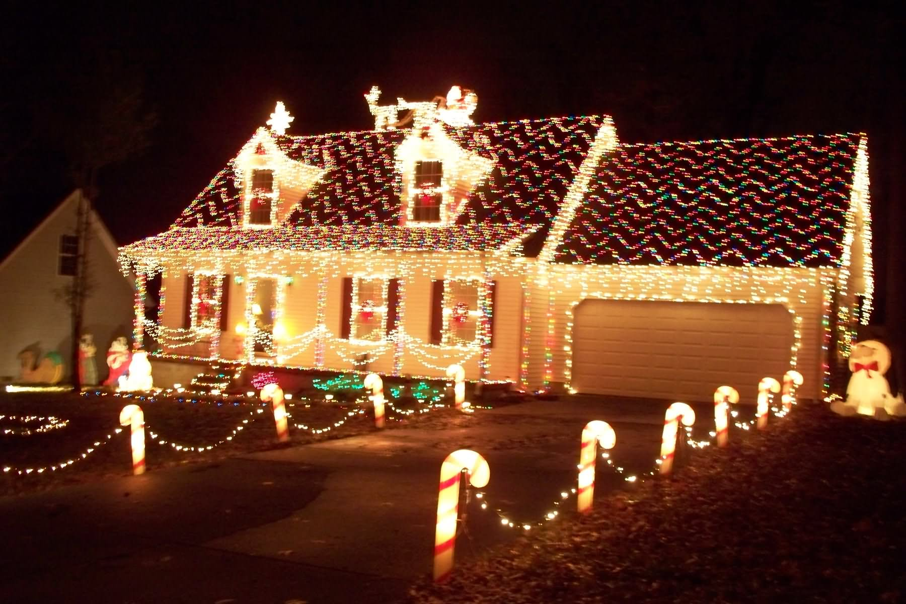 christmas lights on houses decoration idea