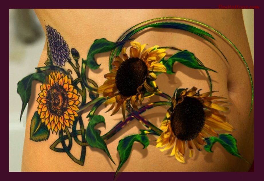 10 cool sunflower tattoo designs and images for women for Realistic sun tattoo
