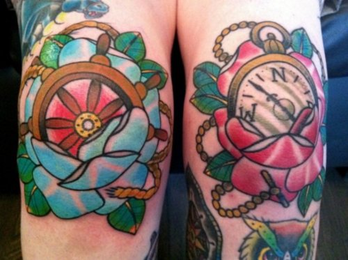 Colorful Pocket Watch And Sailor Wheel Tattoo On Both Knees
