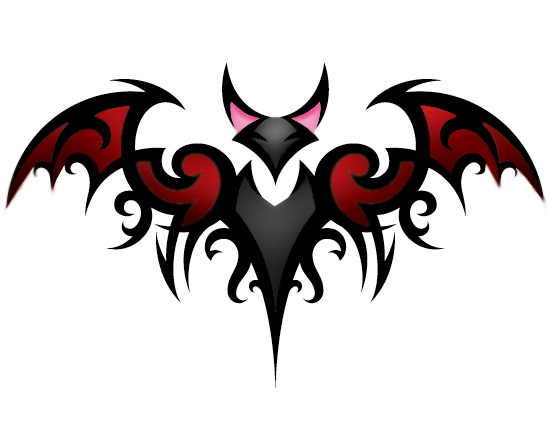 Colorful Tribal Bat Tattoo Design