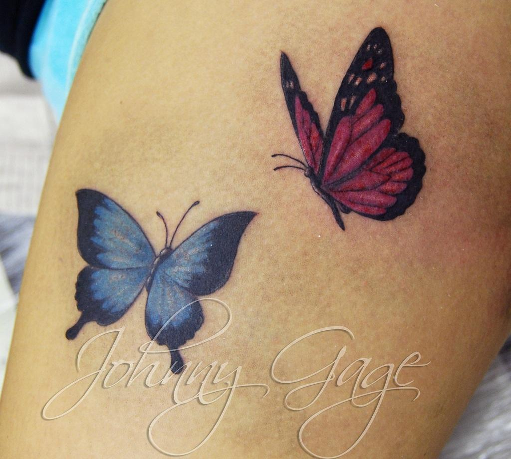 9eefed6e8 Colorful Two Flying Butterflies Tattoo Design By Johnny Gage