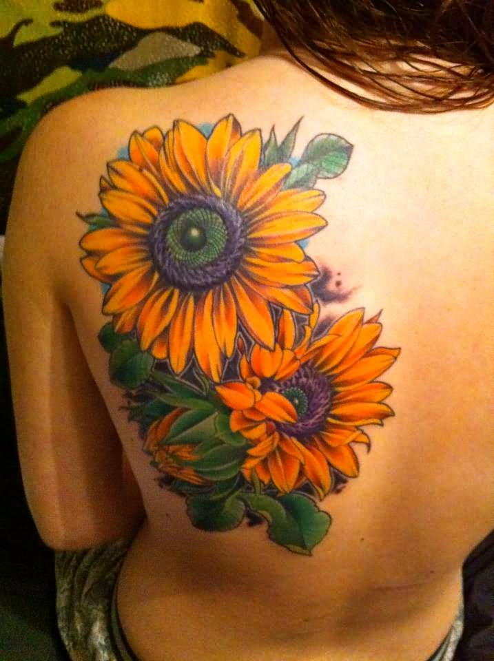 Colorful Two Sunflowers Tattoo On Girl Upper Back Shoulder
