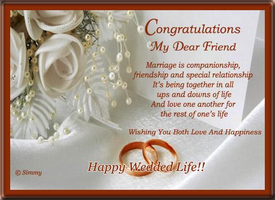 Congratulations My Dear Friend Happy Married Life