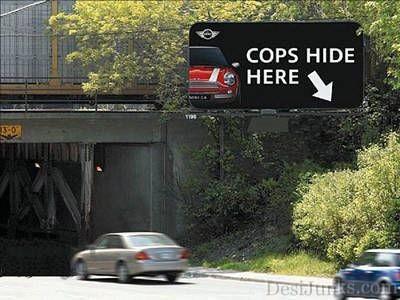 Cops Hide Here Funny Sign Board