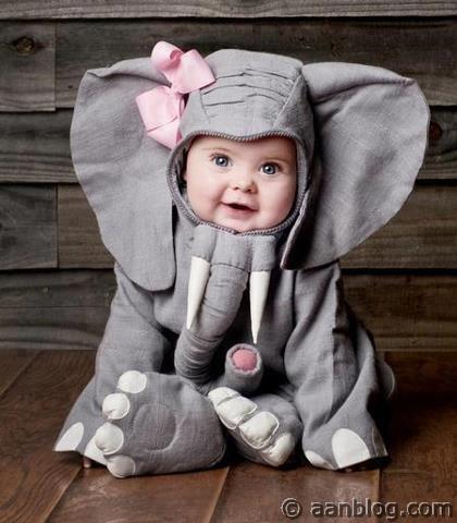 Cute Baby In Funny Elephant Dress