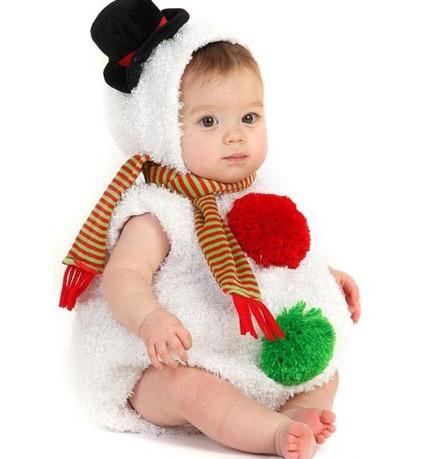 Cute Baby In Snowman Funny Dress
