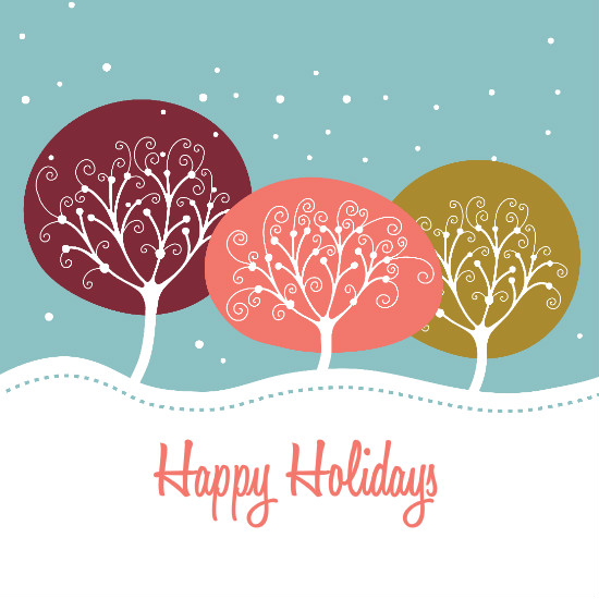 happy holidays trees design card - Happy Holidays Card