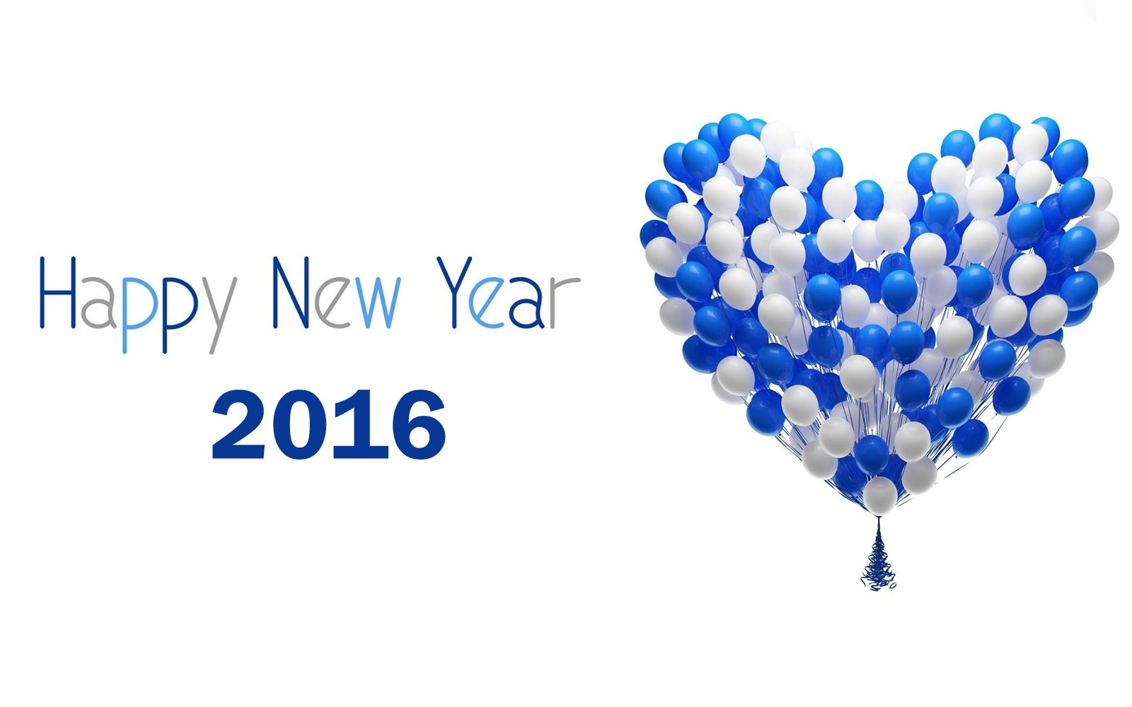 happy new year 2016 blue and white heart balloons picture