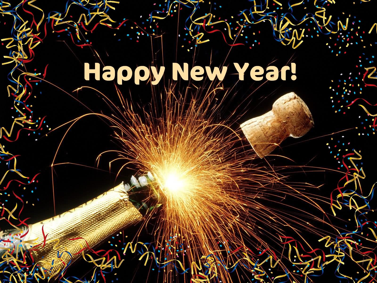 Happy New Year Champagne Bottle Picture