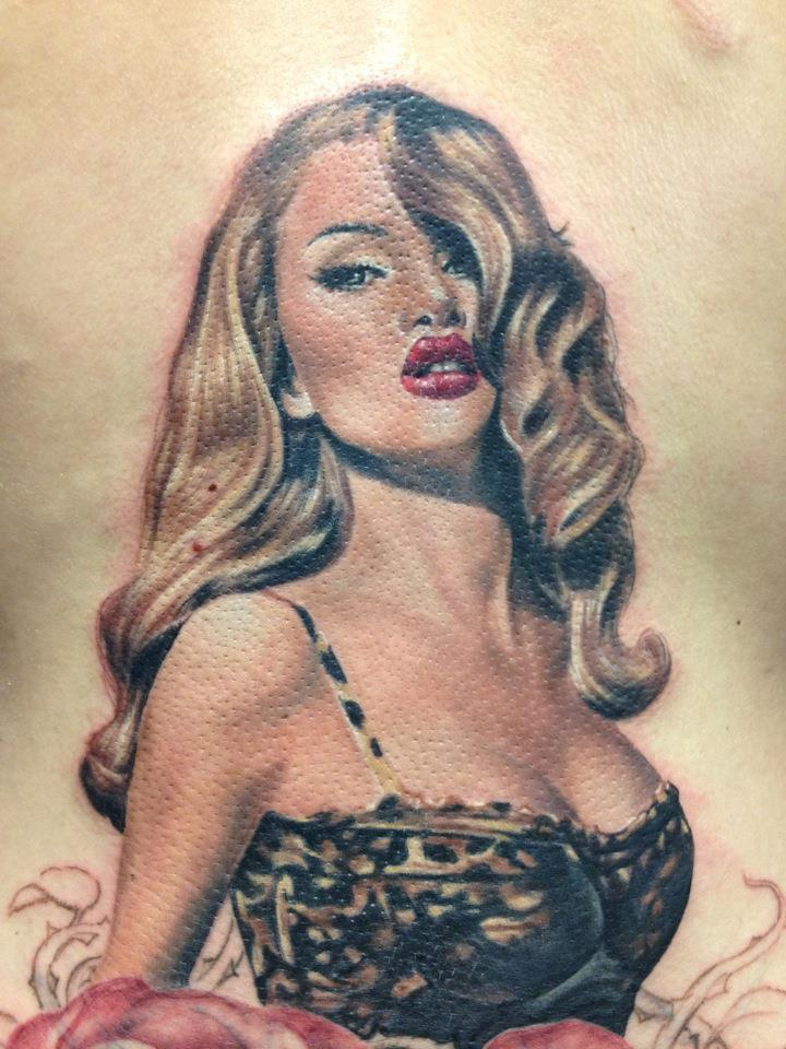 Incredible Pin Up Tattoo Done by Randy Engelhard